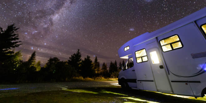 Night in the forest under the stars during a campervan road trip in Australia