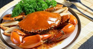 Plate of chili mud crab, one of the most delicious foods of Singapore