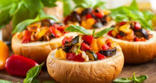 One of the most delicious sicilian dishes: eggplant caponata served in bread bowls.