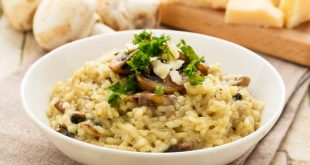 Risotto with mushrooms, one of the most famous Italian dishes.