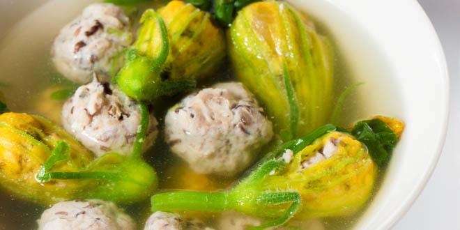 One of those unusual Vietnamese foods: vietnamese pork-stuffed flower winter melon soup.