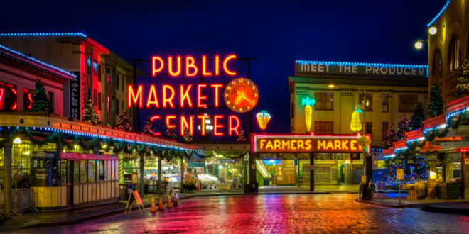 Scenic view at night of Pike Place Public Market Center in Seattle, one of the best food halls in the US.