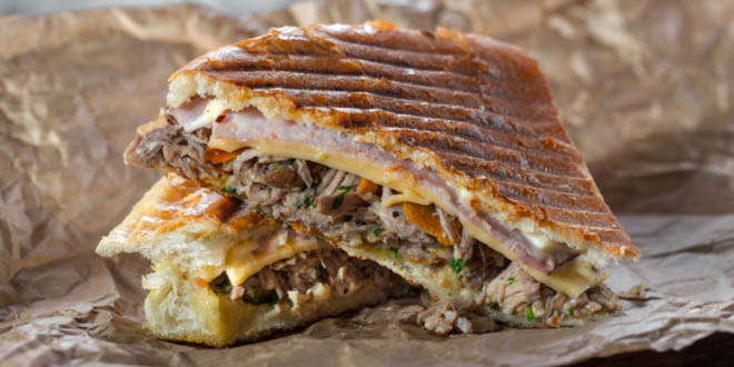Cuban sandwich with pulled pork, one of the most famous Cuban street foods.