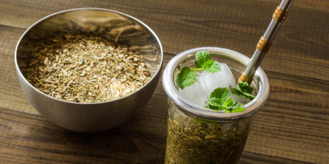 """Glass of frozen yerba mate called """"terere"""", one of the most typical Paraguayan foods."""