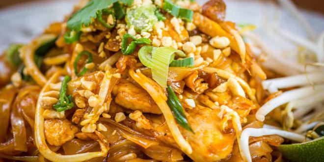 Close-up of a typical dish of pad thai in Bangkok.