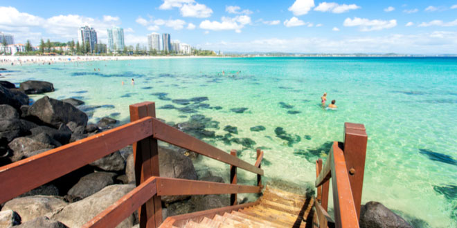 Greenmount beach in Coolangatta, on the Gold Coast, featured in our guide to Queensland for foodies and adventurers.