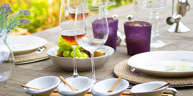 Drinks and food on a table at one of the food and wine festivals in the US